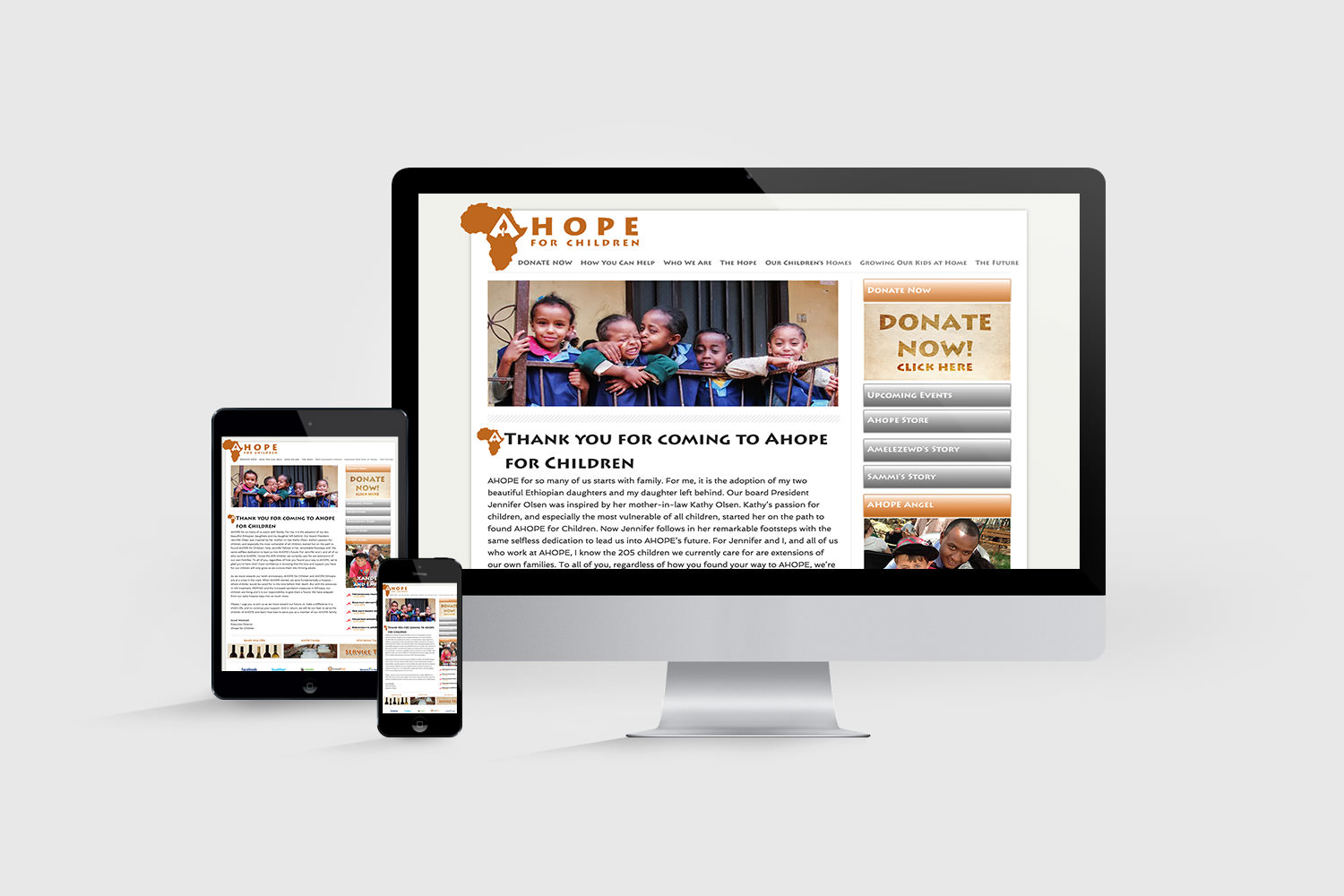 AHOPE for Children Webdesign